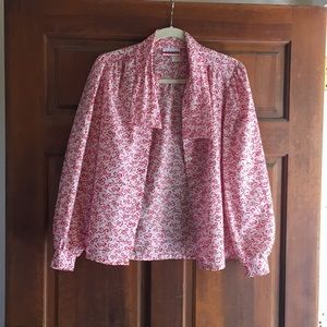 Vintage button-down - red bow pattern